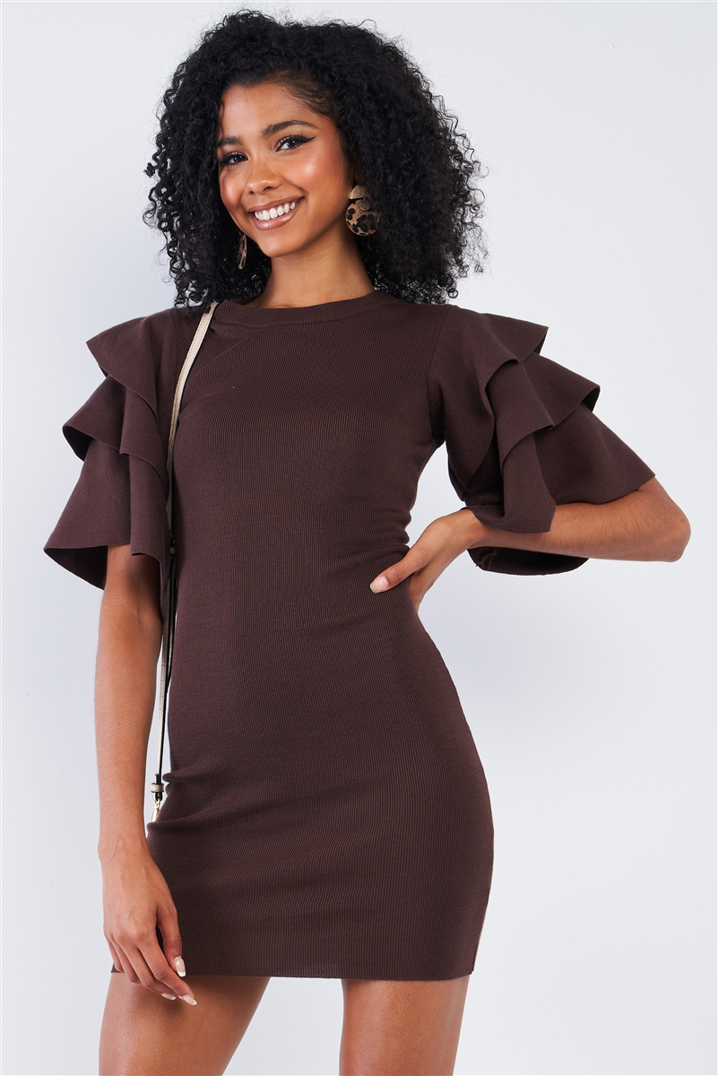 Dark Coffee Brown Tight Fit Multi Layer Frill Short Sleeve Mini Dress