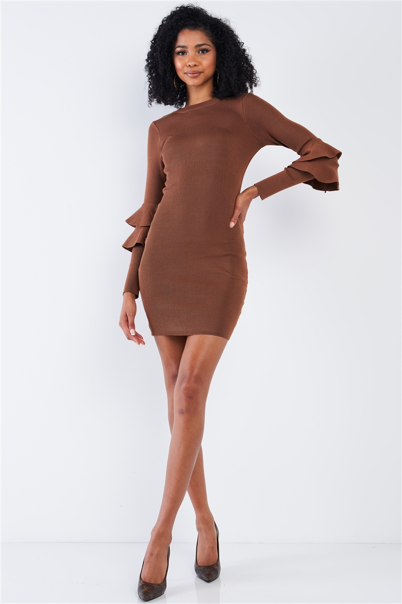 Light Coffee Brown Body-Con Tight Fit Round Neck Double Frill Sleeve Mini Dress /2-2-2