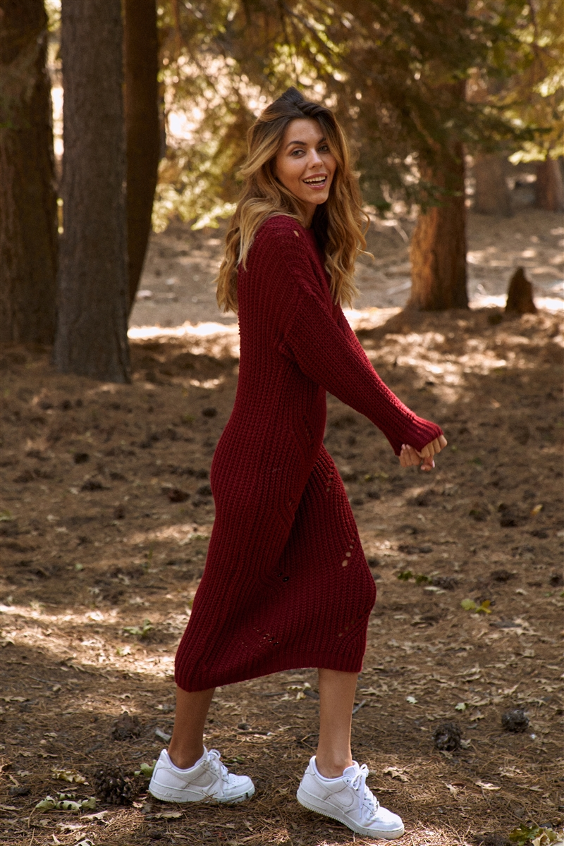 Burgundy Chunky Knit Long Sleeve Sweater Dress
