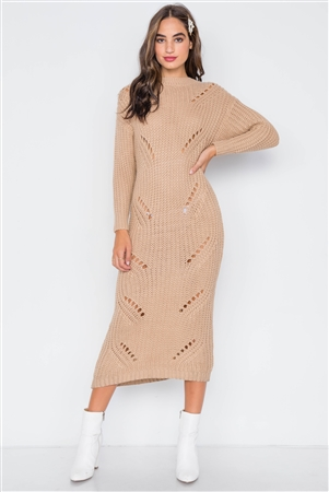 Khaki Chunky Knit Long Sleeve Sweater Dress