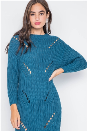 Teal Chunky Knit Long Sleeve Sweater Dress