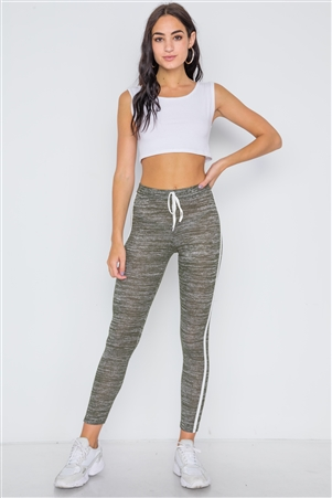 Green Heathered Contrast Trim Legging Pants