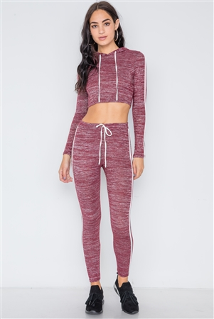 Burgundy Heathered Crop Top Legging Two Piece Set