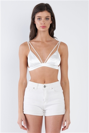 Silk Off-White Strappy Bra