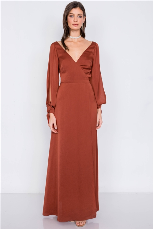 Copper Satin Cold Shoulder Wrap Chic V-Neck Maxi Dress