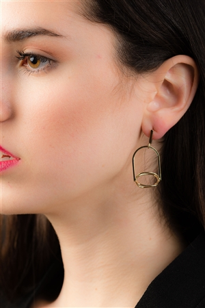 Gold Caged Dangle Earrings