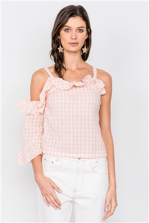 Malibu Peach & White Cotton Checkered One Shoulder Top
