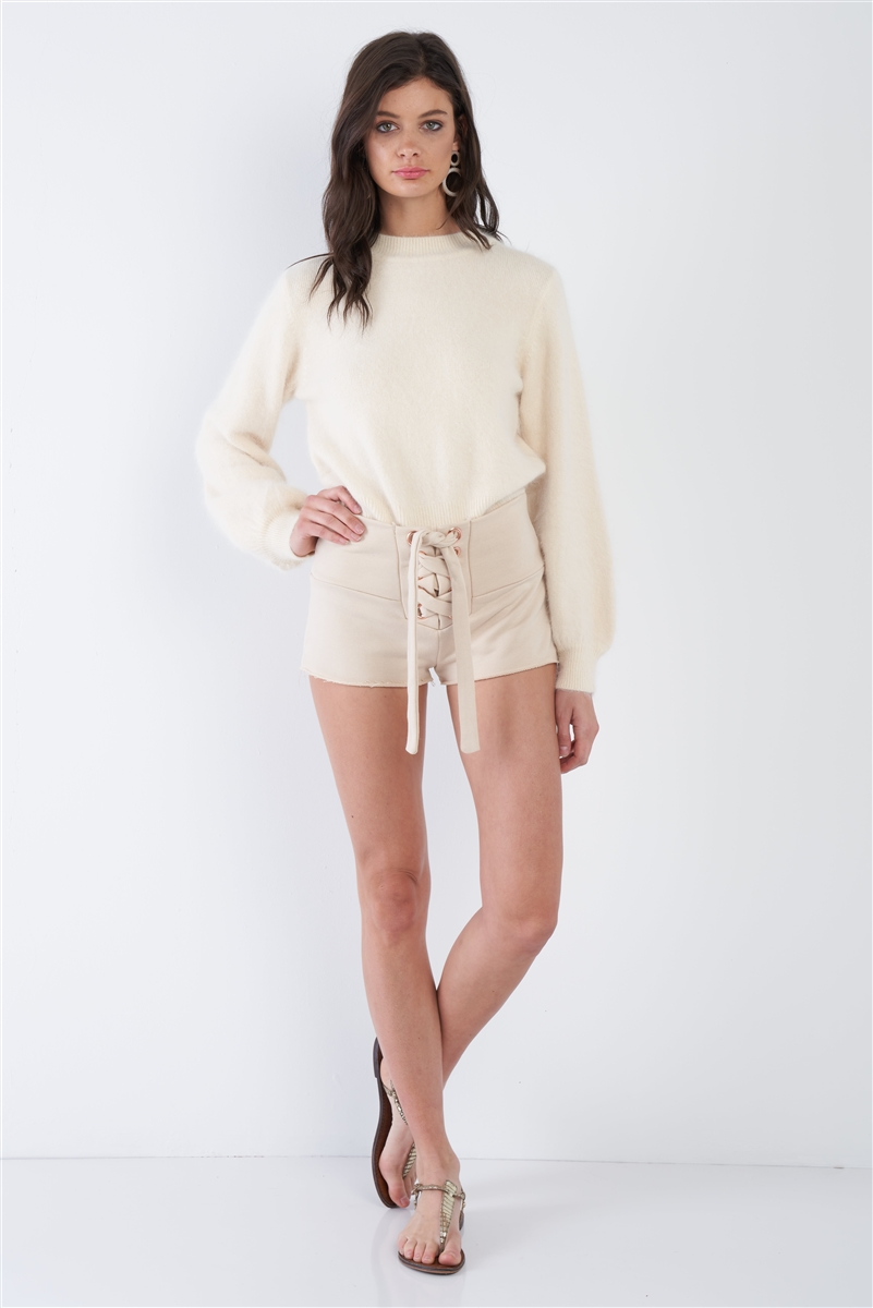 Ecru Nude Lace Up Casual Raw Hem Short Shorts