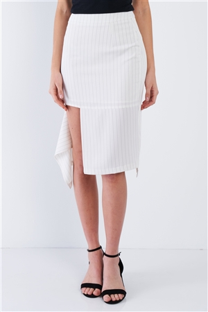 Off-White Pinstripe Cut Out Asymmetrical Hem Bodycon Midi Skirt