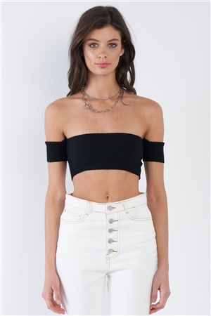 Black  Off-The-Shoulder Ribbed Chic Crop Top