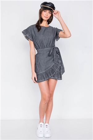 Black Denim Raw Frill Contrast Trim Hem Wrap Casual Mini Dress