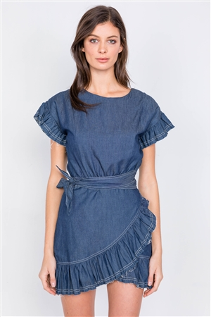 Dark Denim Raw Frill Contrast Trim Hem Wrap Casual Mini Dress