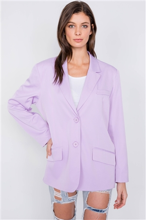 Lavender Relaxed Fit Boyfriend Casual Blazer Jacket