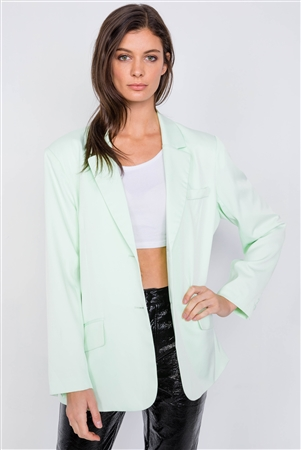 Mint Relaxed Fit Boyfriend Casual Blazer Jacket