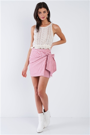 Red Checkered Mock Wrap Vintage Chic Mini Skirt