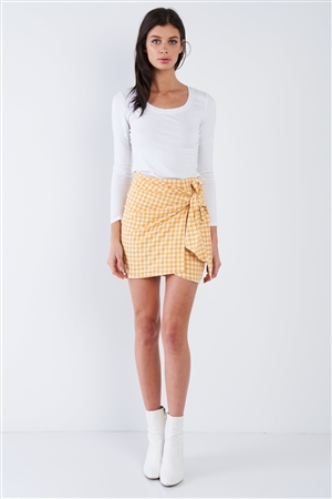 Yellow Checkered Mock Wrap Vintage Chic Mini Skirt