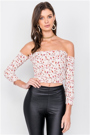 Minimalist Floral Print Ruched Off-The-Shoulder Boho Crop Top