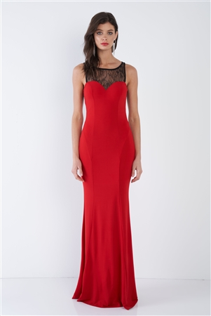 Red Sheer Lace Sweetheart Elegant Maxi Dress