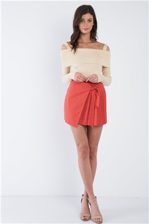 Tomato Red Pleated Mock Wrap Retro Mini Skirt