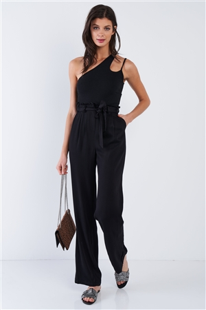 Black Office Chic Relaxed Fit High Waist Boot Cut Pants