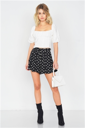 Black & White Polkadot Frill Flare Mini Chic Pleated Shorts