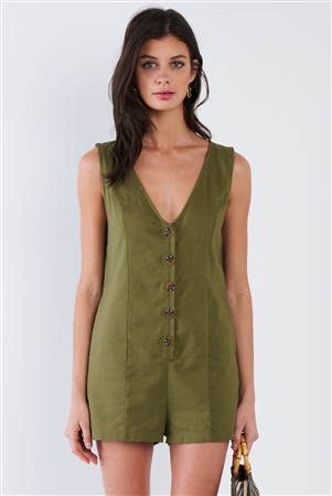 Moss Green Solid Chic V-Neck Front Button Mini Short Romper