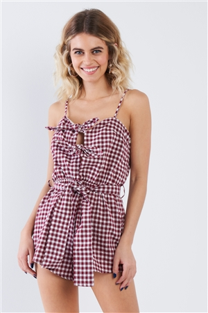 Wine Checkered Layered Bow Cut Out Short Romper
