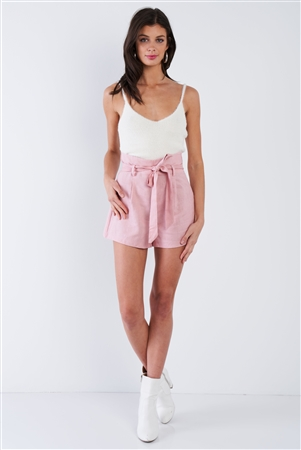 Rose Pink Pleated High Waist Self Tie Sash Mini Chic Shorts