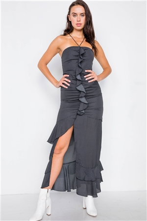 Black Halter Top Polkadot Maxi Dress