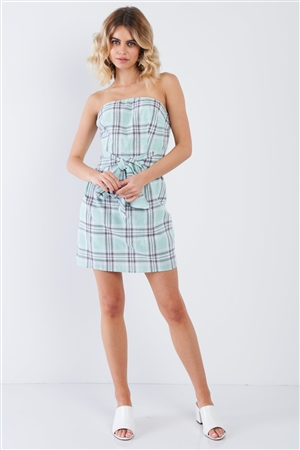 Green Plaid Stripe Tube Top Mock Wrap Mini Dress