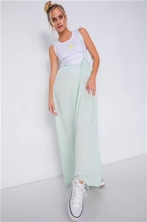 Mint Overall Vintage Sheer Wide Leg Jumpsuit