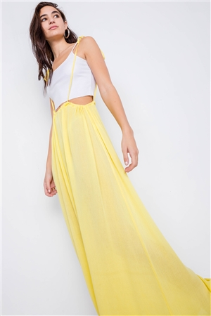 Yellow Overall Vintage Sheer Wide Leg Jumpsuit