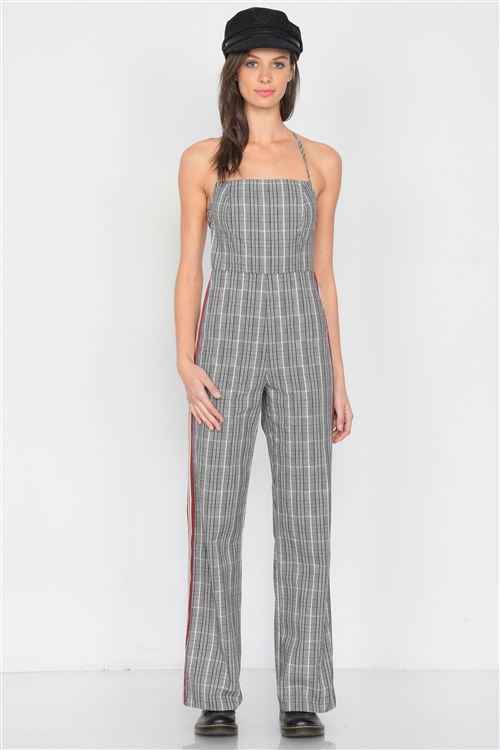 Checkered Wine & White Color Block Cotton Jumpsuit