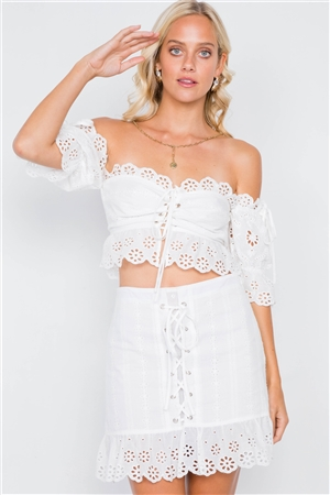 Off-White Cotton Sweetheart Crop Top & Lace Up Mini Skirt Set