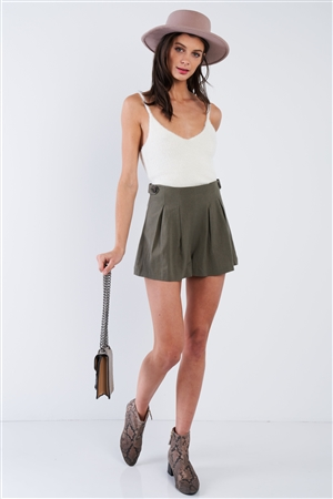 Olive Green High Waist Pleated Side Button Shorts