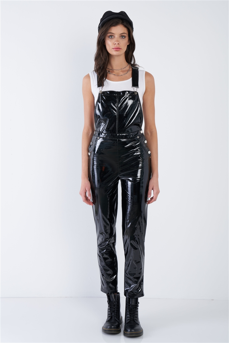 Black Faux Leather Skinny Leg Overall Jumpsuit
