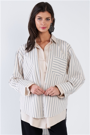 Ecru Pink & Blue Stripe Layered Double Button Down Top
