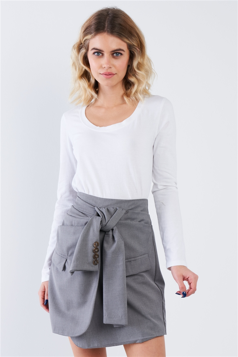 Grey Front Warp Tie High Waist Mini Skirt