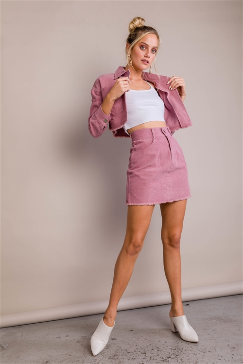 Dusty Rose Crop Jean Jacket & Mini Skirt Raw Hem Set