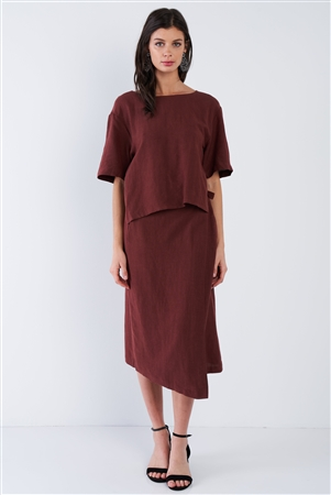 Maroon Brown Center Cut Out V-Neck Midi Wrap Dress