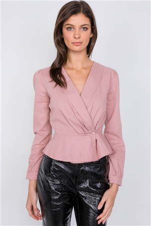 Pale Pink V-Neck Wrap Mock Peplum Top