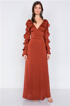 Satin Copper Cold Shoulder Frill Trim Wrap Maxi Dress