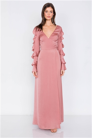 Satin Dusty Rose Cold Shoulder Frill Trim Wrap Maxi Dress