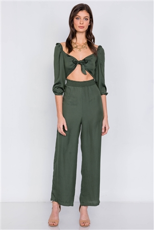 Satin Forest Center Cut Out Front Wrap Wide Leg Jumpsuit