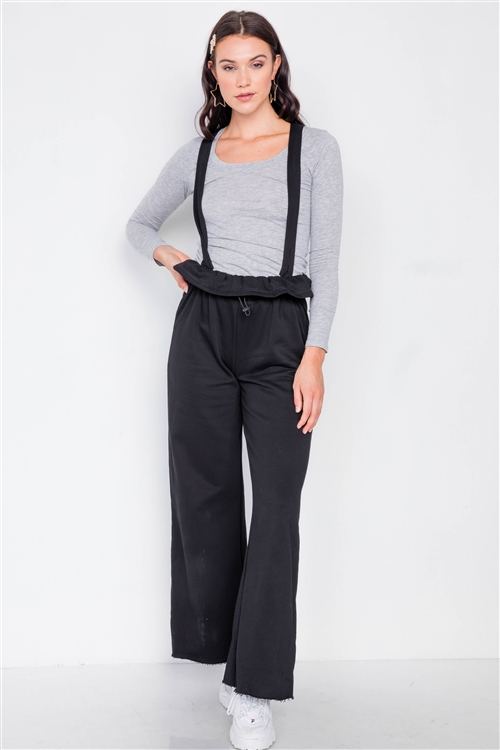 Black Relaxed Wide-Leg Overalls