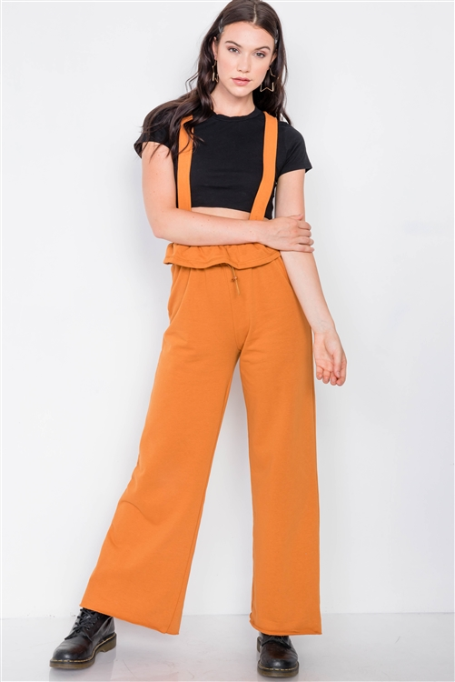Camel Relaxed Wide-Leg Overalls