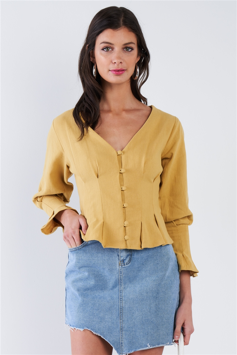 Dijon Mustard Yellow Vintage Flounce Pleated Front Button Top