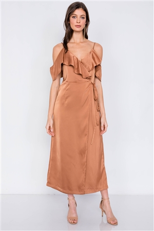 Silk Copper  Off-The-Shoulder Mock Wrap Ankle Gaucho Jumpsuit