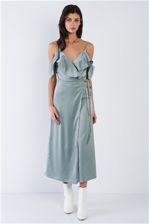 Satin Sage Green Off-The-Shoulder Mock Wrap Chic Midi Dress