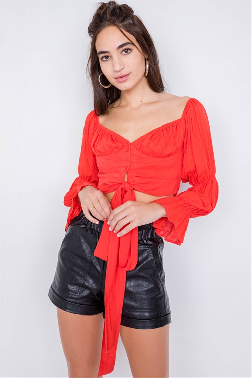 Blood Orange Tiered Puff Embroidered Boho Knot Wrap Crop Top